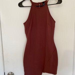 Mauve Bodycon High-neck Dress